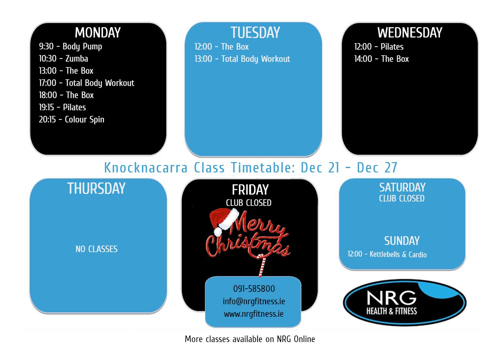 NRGKdec21-dec27 Timetable