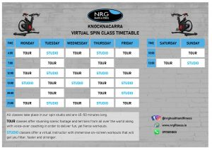 Virtual Spin Class Timetable (click to enlarge)