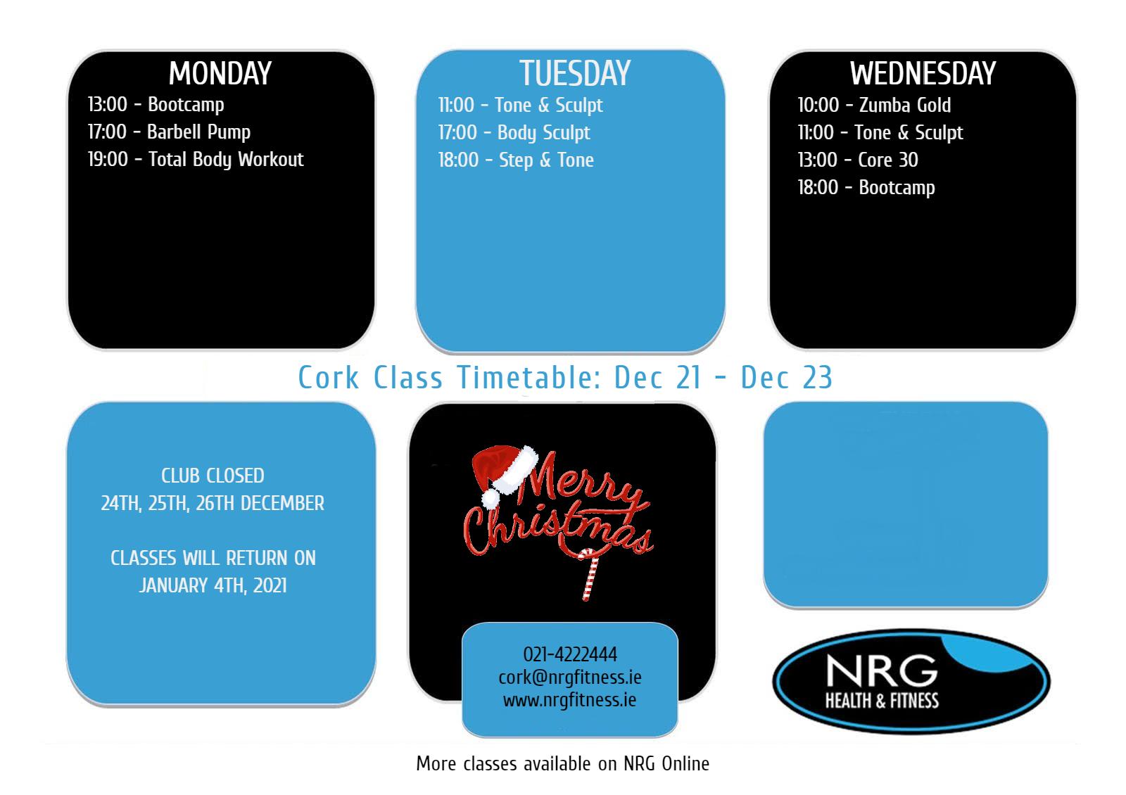 cork21dec-23dec Timetable