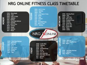 NRG Online February 2021 Class Timetable