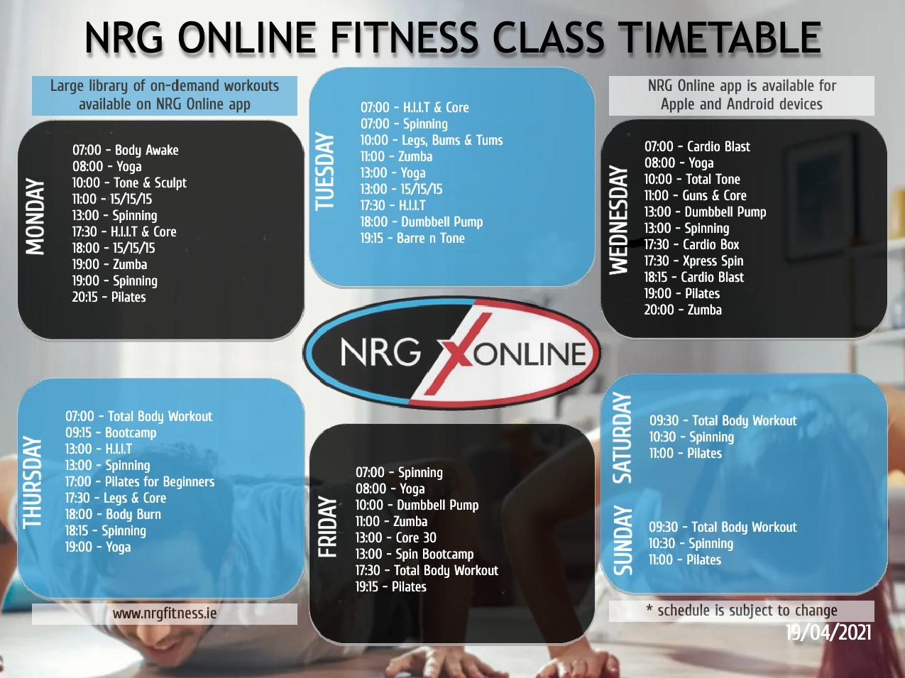 NRG Online Class Timetable April 2021